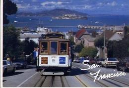 San Francisco - Cable Car With Famous Alcatraz Prison Island In The Background - Formato Grande Viaggiata Mancante Di Af - Cartoline