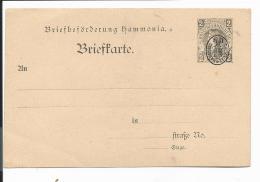 Stadtpost Chemnitz P** - 2 Pf  Hammonia-Karte M. Wappenaufdruck - Private