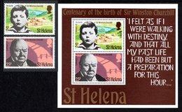 SAINT HELENA 1974 Birth Centenary Of Sir Winston Churchill: Set Of 2 Stamps + M/S UM/MNH - Saint Helena Island