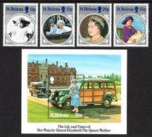 SAINT HELENA 1985 Life & Times Of Queen Elizabeth The Queen Mother: Set Of 4 Stamps + M/S UM/MNH - Saint Helena Island