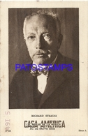 91014 PUBLICTY COMMERCIAL CASA AMERICA MUSICA BS AS ARTIST RICHARD STRAUSS COMPOSER & ORCHESTRA NO POSTAL POSTCARD - Pubblicitari