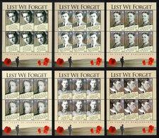 SAINT HELENA 2008 Lest We Forget/WWI Remembrance: Set Of 6 Sheets UM/MNH - Saint Helena Island