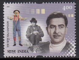 India MNH 2001, Raj Kapoor, Film Actor, Director, Cinema, Circus Joker, Clown Mask, Costume - Ungebraucht