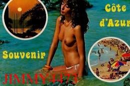 CPM - Une Belle Belle Jeune Fille Aux Seins Nus Dans La Mer En 1981 - Côte D' Azur - Scans Recto-Verso - Pin-Ups