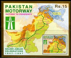 PK0013 Pakistan 1997 Motorcycle Road 50 Year Standard Map M MNH - Pakistan