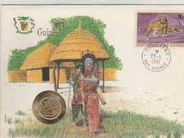GUINEE..GRANDE ENVELOPPE AVEC TIMBRE ET PIECE DE 10 F..1991 - Guinea