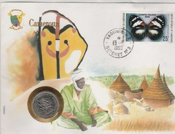 CAMEROUN..GRANDE ENVELOPPE AVEC TIMBRE ET PIECE DE MONNAIE..1990 - Cameroon