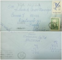 O) 1968 ARGENTINA, AIRMAIL, SYMBOLIC PLANE SCOTT AP35 78 PESOS, DOMINGO F. SARMIENTO SCOTT A312, TO BOGOTA COLOMBIA, XF - Argentina
