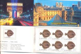 "2004. Latvia, Stamp Fair ""Paris 2004"", Fish, Booklet, Mint/** - Letland"
