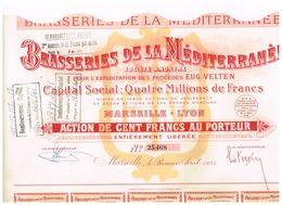 Action Ancienne - Brasseries De La Méditerranée - Titre De 1925 - - Industrie