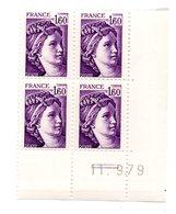 Sabine De Gandon N°2060 Coin Daté 11.9.79 Neuf Sans Charniére - Ecken (Datum)