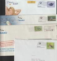 T 63) Belege Infopost  Frankierwelle (u.a. NABU): Vögel Bekassine Kuckuck Eisvogel Taube - Vögel