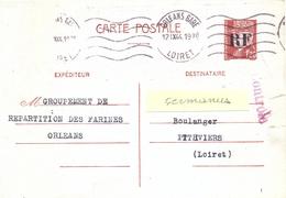 GUERRE 39-45 ENTIER PETAIN 1f20 Surchargé R F LIBÉRATION ORLEANS LOIRET OMec ORLEANS-GARE 14 IX 44 + CONTRÔLE - Marcophilie (Lettres)