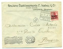 Belgique - OC3 Sur Lettre De Lokeren à Bruxelles 02 Feb 1916 - Guerre 14-18