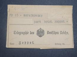 ALLEMAGNE - Télégraphe Pour Zoppot En 191.. - L 14912 - Germany
