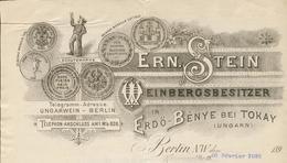 Allemagne - Berlin - Entête Du 20 Février 1895 - Ern.Stein Weinbergsbesitzer - In Erdö-Bénye Bei Tokay (Ungarn). - Non Classés