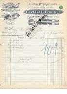 52 - Haute-marne - RENNEPONT - Facture VIDAL - Coulisses De Table - 1915 - REF 272B - France
