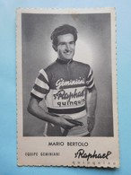 Equipe Geminiani 1957-1958 Mario Bertolo  St Raphael Quinquina - Cyclisme