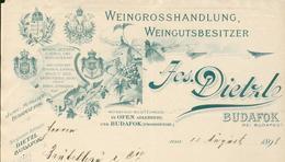 Hongrie - Budapest  Entête 1898 - Jos.Dietzle - Weingrosshandlung,Weingutsbesitzer. -  Budafox Bei Budapest. - Invoices & Commercial Documents
