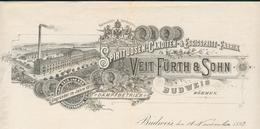 République Tchèque - Budweis - Böhmen  Entête 1893 - Veit Fürth & Sohn - Spirituosen - Cantiden & Essigspritt - Fabrik. - Invoices & Commercial Documents