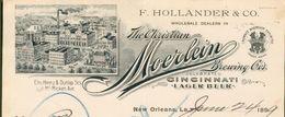 Etats Unis - La New Orléans - Correspondance 2 Pages Du 24 June 1899 - F.Hollander  Co. - The Christian Moerlein. - United States