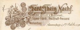 Allemagne - Braunschweig - Rechnung Die 17 October 1899 - Ferd.Thein Nachf - Liqueur-Fabrik,Fruchtsaft-Presserei. - Non Classés