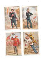 10642 - Lot De 4 Chromos Biscuits PERNOT : Autriche,angleterre,espagne,suisse, Uniformes, - Pernot