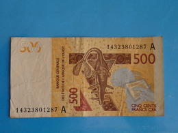 500  FRANCS  CFA  B.C.E.A.O  2014  LETTRE A  (  COTE  D' IVOIRE  ) - Côte D'Ivoire
