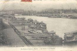 LA SEINE A TRAVERS PARIS - LA SEINE A AUSTERLITZ . AFFR AU VERSO LE 7-11-1907 . TRACES DE PLI . 2 SCANES - The River Seine And Its Banks