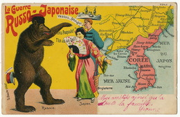 Russo Japanese War  Cartoon Card With Korean Map China Russian Bear  Mandchuria Japanese Geisha Port Arthur - Korea, North
