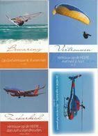 NL.- 4 Tekst Kaarten Van Evangelie Lectuur. Parasailen, Helikopter, Vliegtuig, Windsurfen. Nieuw. - Christendom