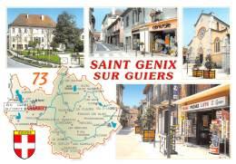 Saint Genix Sur Guiers Multivue  Carte Map Plan Dessin Du Département De La Savoie   20 (scan Recto-verso)MA2291 - France