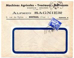 OISE - Dépt N° 60 = BRETEUIL 1938 = CACHET MANUEL + En-tête Ets SAGNIER = Machines Agricoles - Handstempel