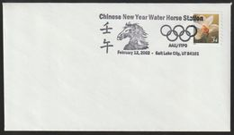 T 90) SSt USA Salt Lake City 2002: Chinesisches Neujahr, Wasser Pferd Station, Year Of Horse, Olympia - Horses