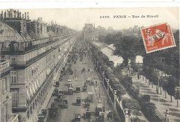 4499. PARIS . RUE DE RIVOLI . CARTE TRES ANIMEE AFFR SUR RECTO - Arrondissement: 04