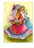 Illustrateur Illustration Vony Jeunesse N° 24.047.05 Jeune Femme En Robe Chat Panier De Fleurs - Illustrators & Photographers