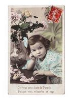 Enfant Fillette Fille Je Viens Sans Doute Du Paradis Puisque Vous M' Appelez Un Ange Cpa Fantaisie Cachet 1908 - Portraits