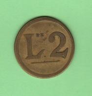 Casinò Casino Token Gettone Da 2 Lire 1920 - Monetary/Of Necessity