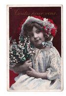 Enfant Fillette Jeune Fille Portant Bouquet Fleurs Toutes Pour Vous Cpa Fantaisie Publicité A La Belle Jardinere - Portraits