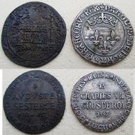 LOT DE DEUX 2 PIECES  CHARLES VII GROS DE ROI 1447 & AUGUSTE SESTERCE 10 AVT JC  FLEURS DE LYS - Fictifs & Spécimens