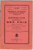 (Cl 2)  Diplômes & Bulletins Scolaires Collège H Balzac Issoudun 36 (1935) - Diploma & School Reports