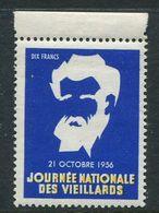 """1956 Journee Nationale Des Vieillards Reklamemarke Poster Stamp Vignette Never Hinged 1 1/8 X 1 1/2"""" - Cinderellas"""
