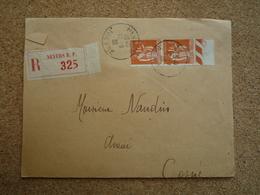 Enveloppe Recommandée Pour Cosne Affranchie Type Paix Oblitération Nevers RP 1936 - Marcophilie (Lettres)
