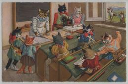 Katzen Cat Chats In Handarbeitsstunde - Max Künzli No. 4675 - Gekleidete Tiere