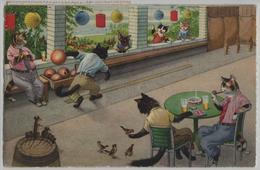 Katzen Cat Chats Beim Kegeln - Max Künzli No. 4735 - Gekleidete Tiere