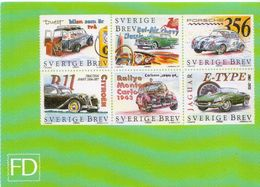 Sweden Cars Stamps Reproduction On Card - Stamps (pictures)