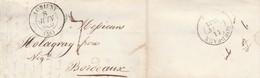 LAC Dc LORIENT (54) Morbihan 8/6/1833 Vers Bordeaux Port 7 - Marcophilie (Lettres)