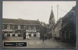 Machelen - Photo-carte - 1919 - Dorpsplaats - La Place - Afspanning Café - Eglise Endommagée - 1914-1918 - Machelen