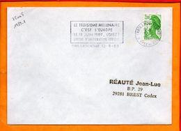 PARIS, Paris 05 Mouffetard, Flamme à Texte, Le 3e Millenaire C'est L'Europe, 18 Juin 1989 Votez - Marcophilie (Lettres)