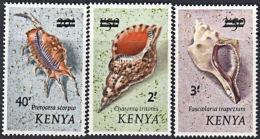 J0104 KENYA 1975,  SG 53-5  Surcharges On Shell Definitives,  MNH - Kenia (1963-...)